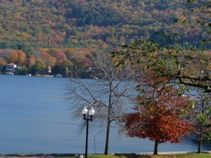 Lake George wearing red.